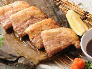 豚バラ昆布〆炙り焼き